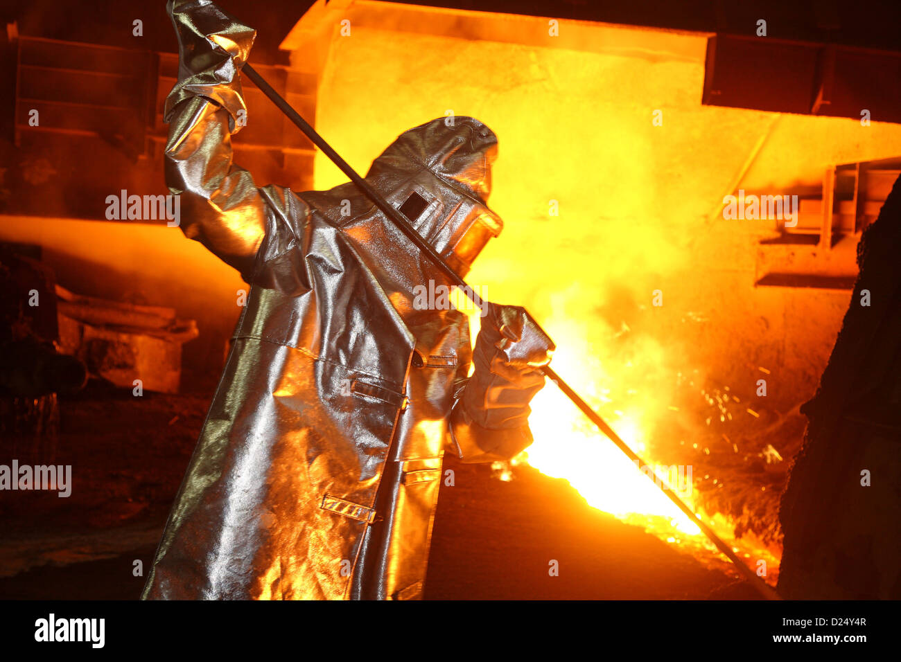 eisenhuettenstadt germany steel workers at the blast furnace of
