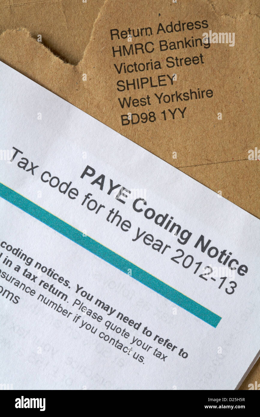 Paye coding notice tax code for the year 2012 and return address paye coding notice tax code for the year 2012 and return address envelope addressed to hmrc banking sciox Image collections
