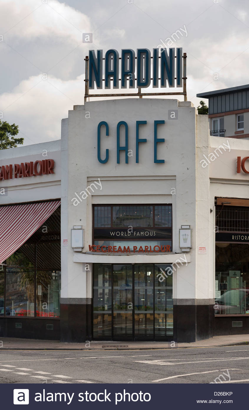 art deco exterior of nardini 39 s cafe restaurant and ice cream stock photo royalty free image. Black Bedroom Furniture Sets. Home Design Ideas
