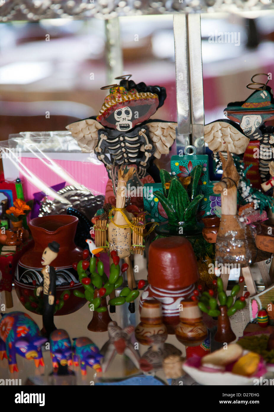 Collection of Day of the Dead models and figurines in Cabinet ...