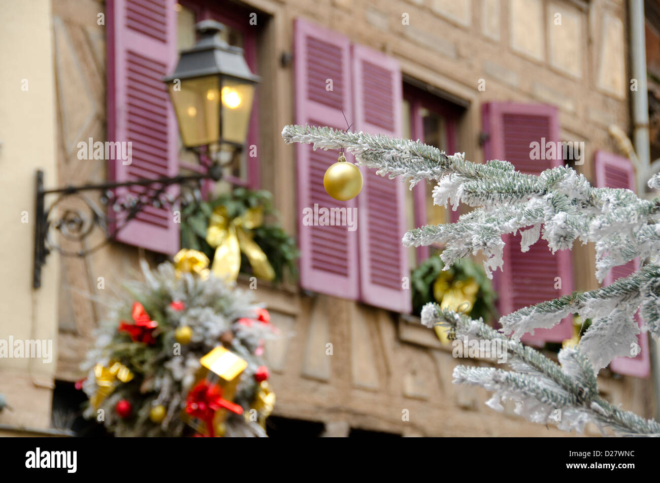 france alsace colmar christmas decorations on typical historic stock photo royalty free. Black Bedroom Furniture Sets. Home Design Ideas