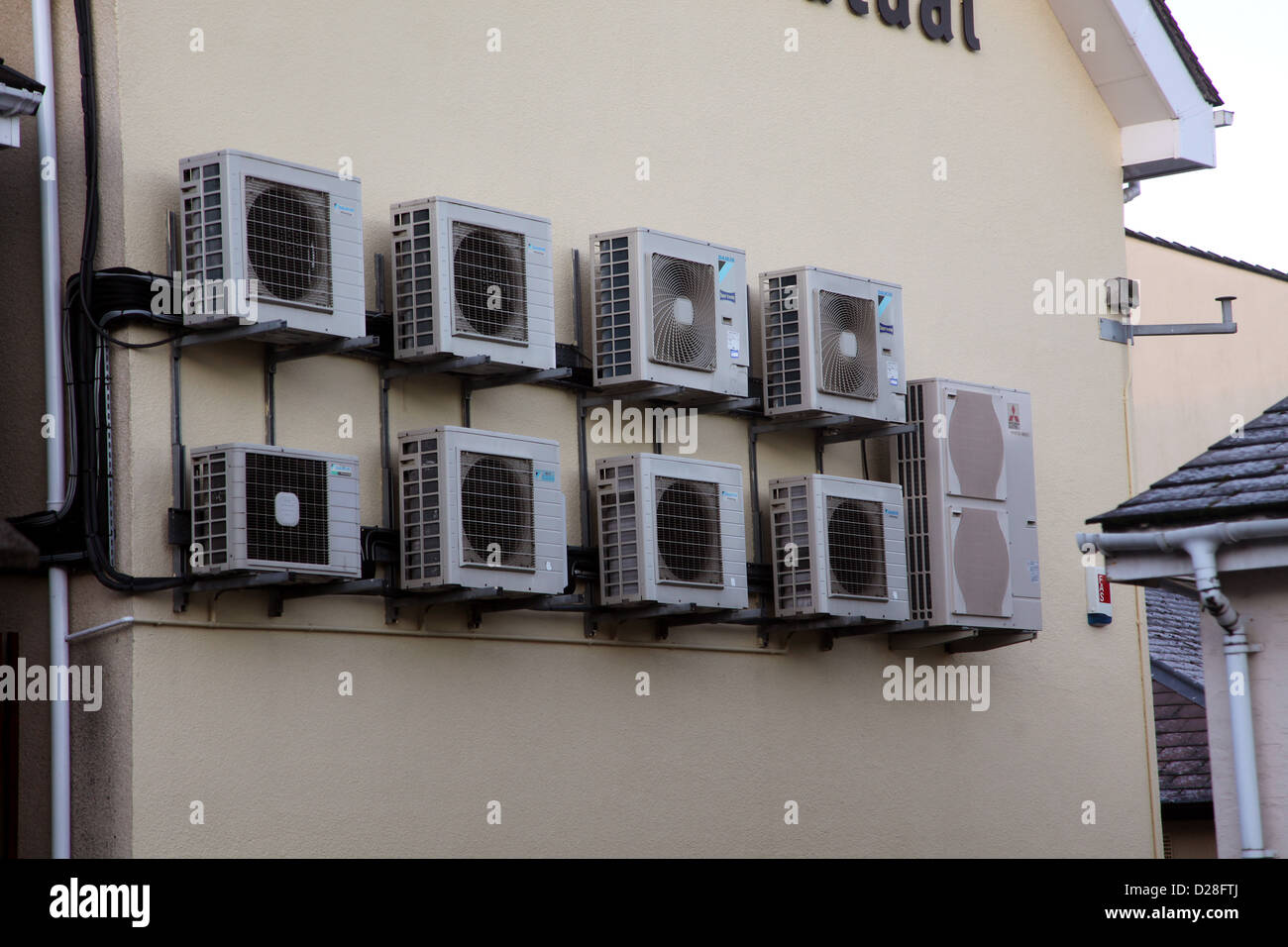 #51607A Battery Of Air Conditioning Units On The Outside Wall Of A  2017 14122 Small Wall Air Conditioning Units photo with 1300x956 px on helpvideos.info - Air Conditioners, Air Coolers and more