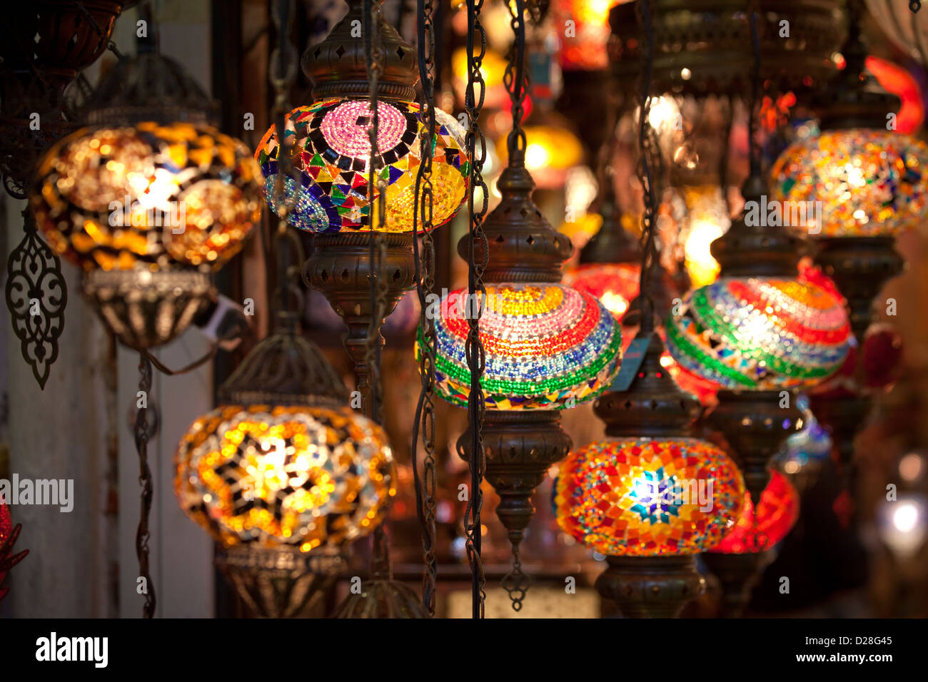 hanging colorful electric turkish glass lanterns lamps in a shop of grand bazaar kapali carsi kapalicarsi
