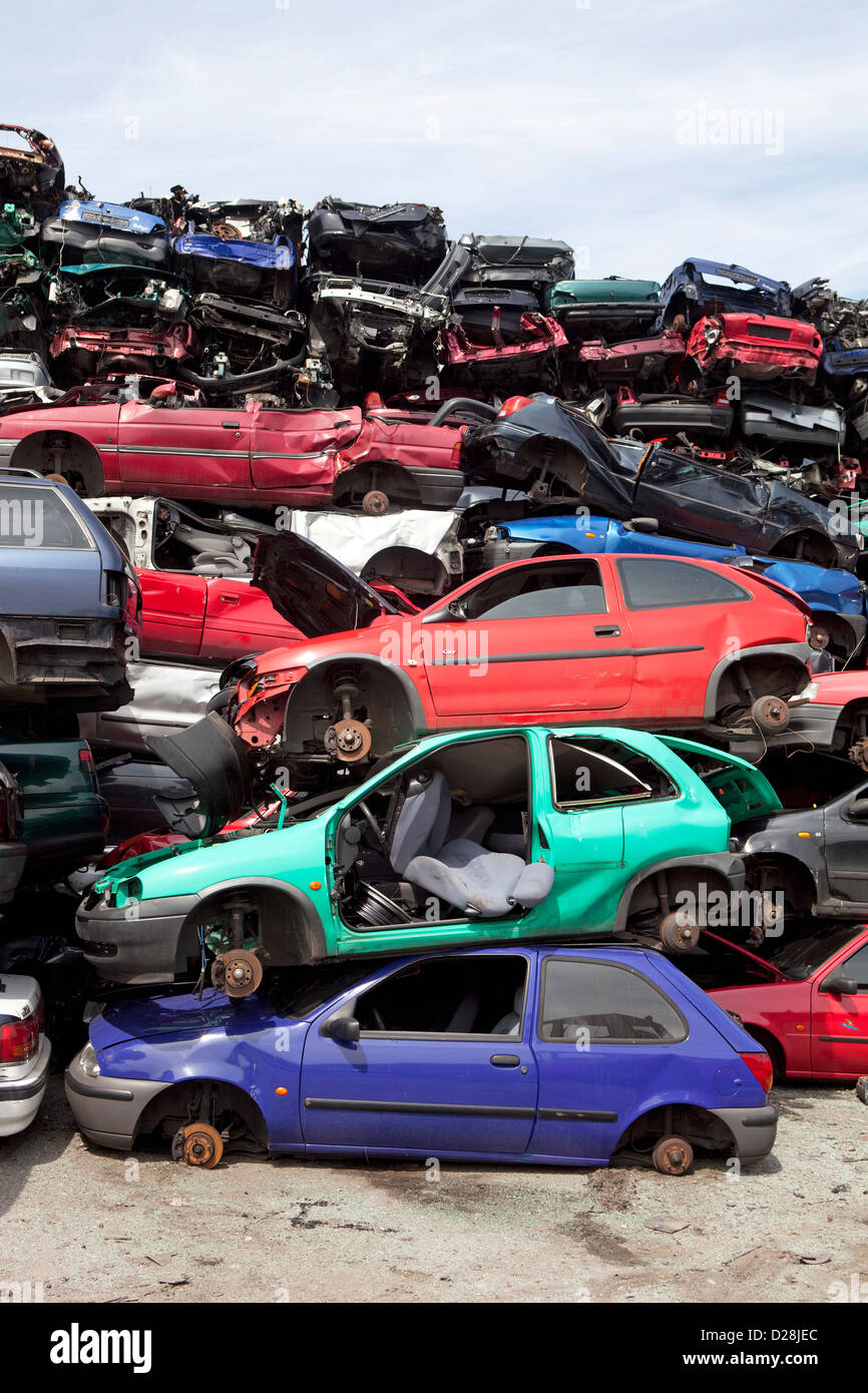Ruhr, Germany, over stacked cars in a junkyard Stock Photo, Royalty ...