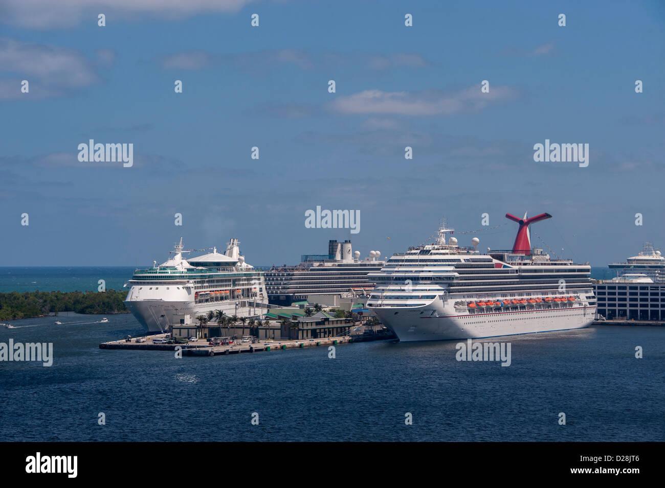 Fort Lauderdale Port Everglades Florida USA Cruise Ships Stock Photo Royalty Free Image ...