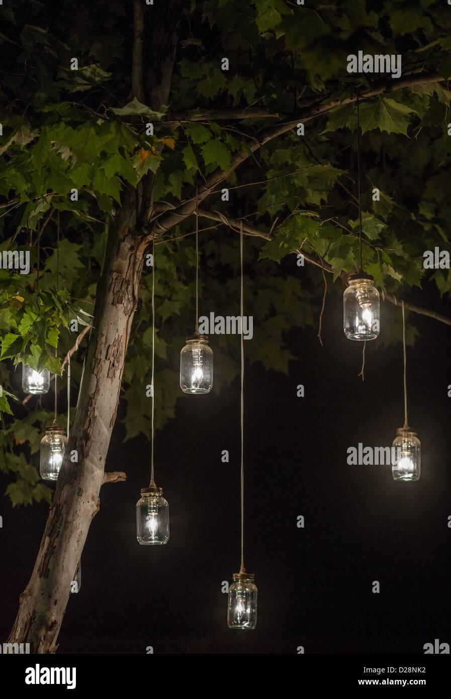 Glowing Mason Jar Lights Hanging From A Tree Stock Photo