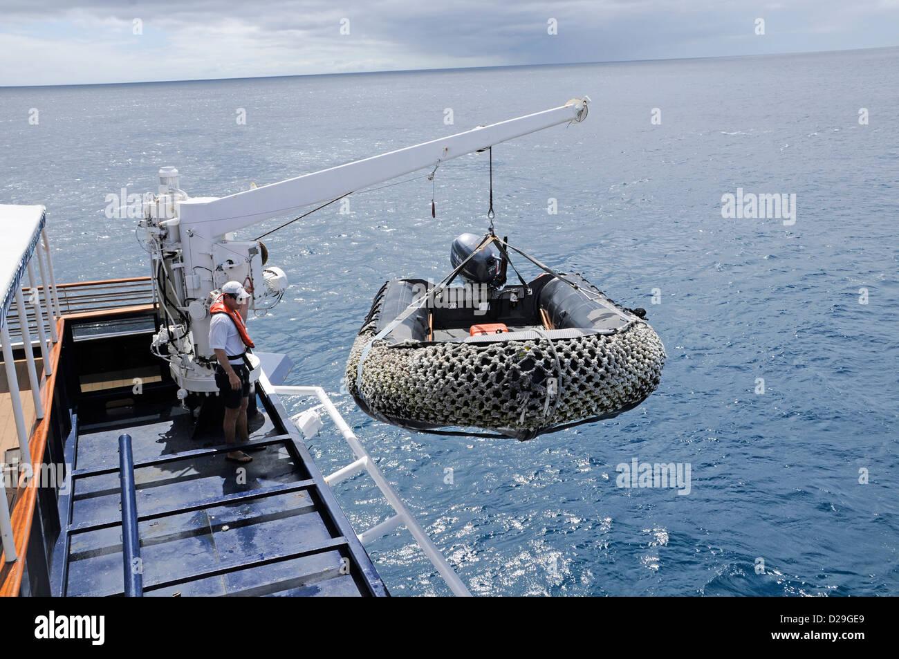 Ecuador Galapagos Islands Zodiac Boat Crane Crewman Cruise - Cruise ships to the galapagos islands