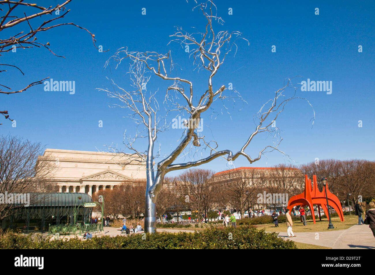 Washington D C National Gallery Art Sculpture Garden Stainless Steel Stock Photo Royalty Free