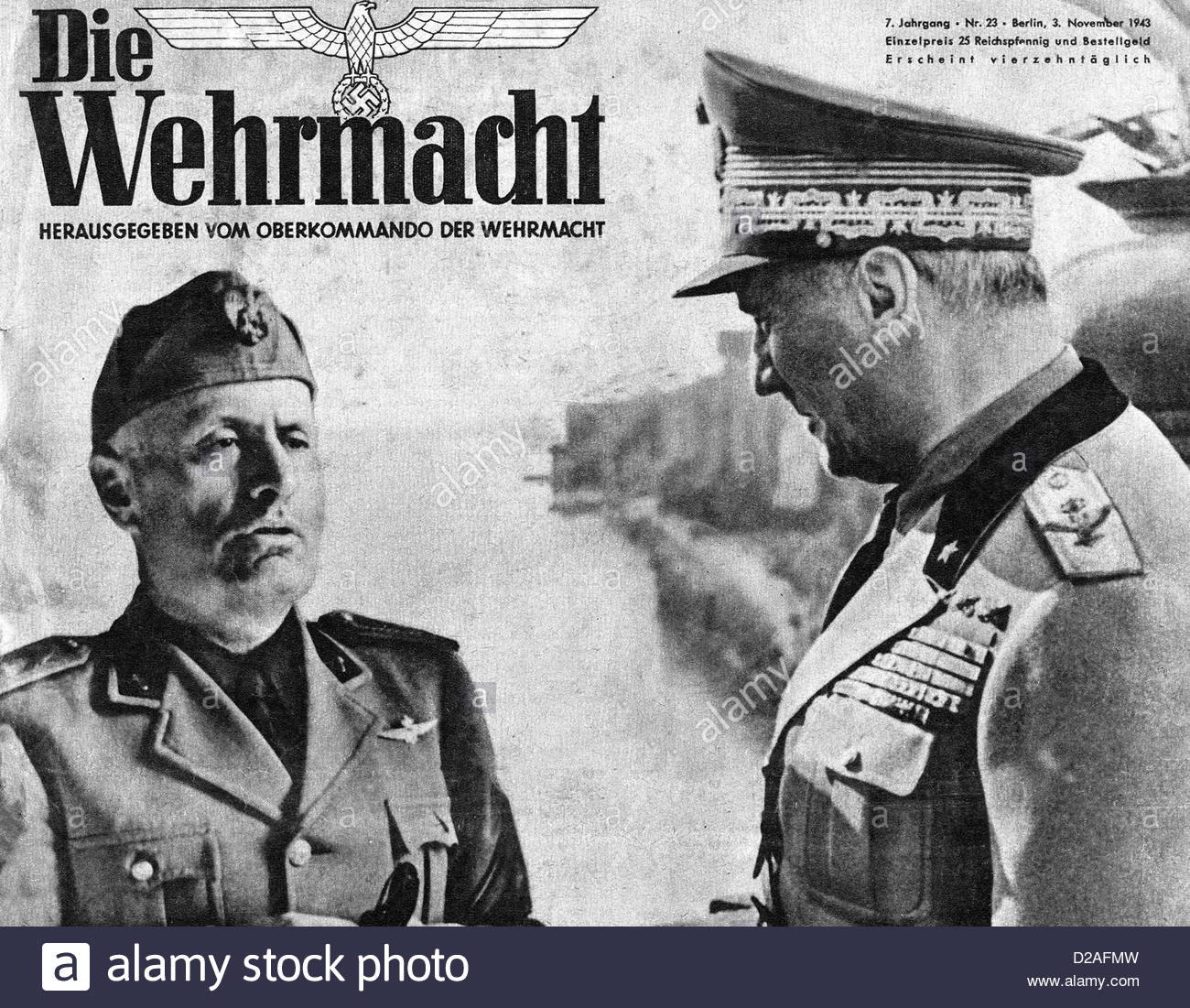 Germany  Benito Mussolini Shown With Marshall Rodolfo Germany  Benito Mussolini Shown With Marshall Rodolfo Graziani DAFMW Stock Photo Germany  Benito Mussolini Shown With Marshall Rodolfo Graziani