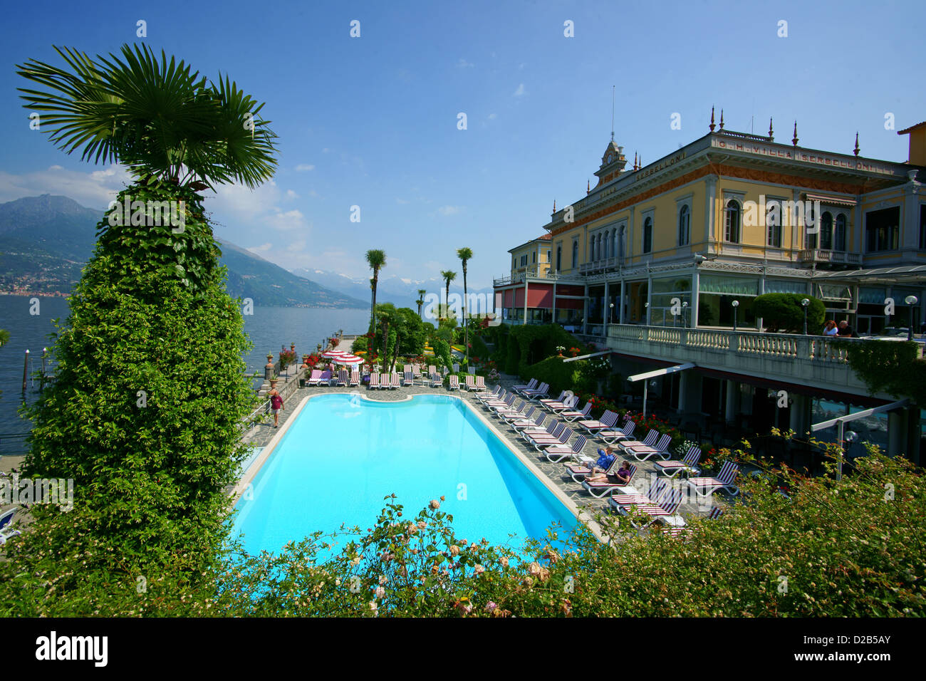Bellagio hotel swimming pool lke water view moutain comer stock photo royalty free for Hotels in bologna italy with swimming pool