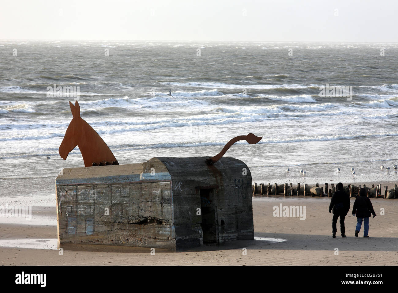 blavand denmark hitler 39 s atlantic wall bunker of irony with horse stock photo royalty free. Black Bedroom Furniture Sets. Home Design Ideas
