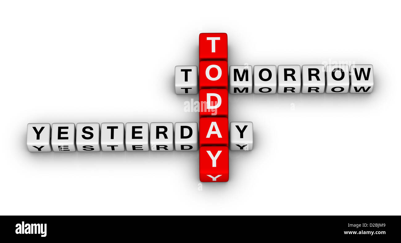 yesterday, today, tomorrow 3d crossword puzzle (time concept stock, Powerpoint templates