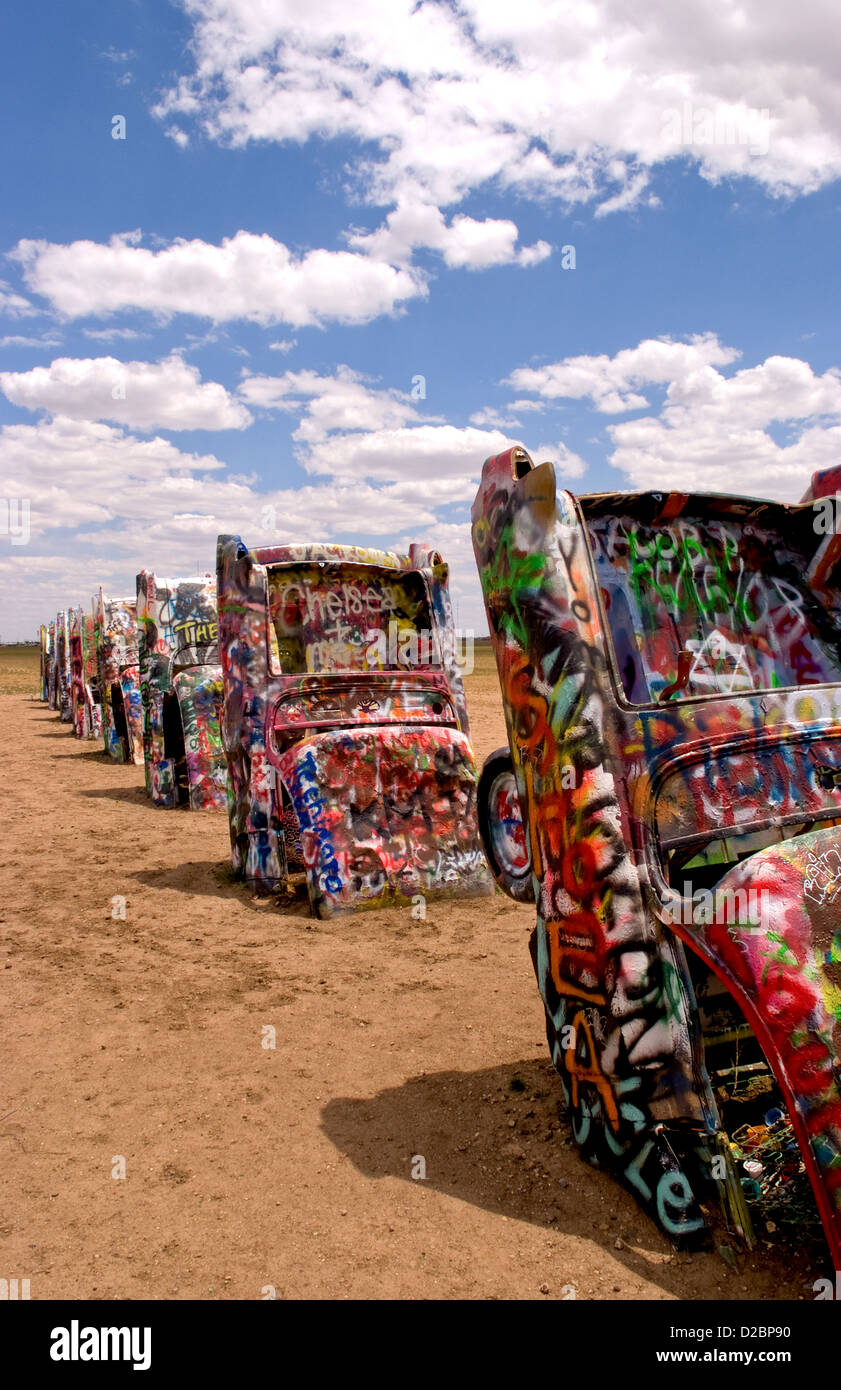 Cadillac ranch with buried cars in ground in amarillo texas