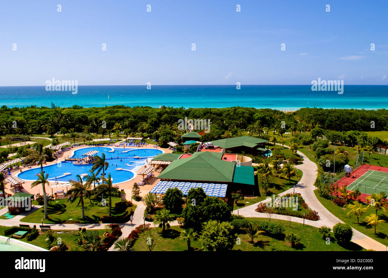 Stock photo view of grounds and blue water from blau varadero hotel varadero beach cuba