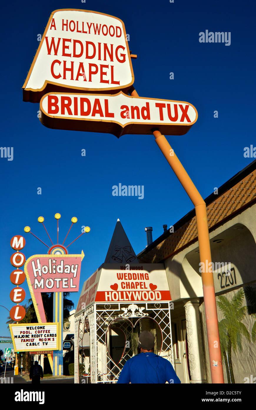 Seedy Old Section Of Las Vegas Boulevard Strip Holiday Motel Hollywood Wedding Chapel