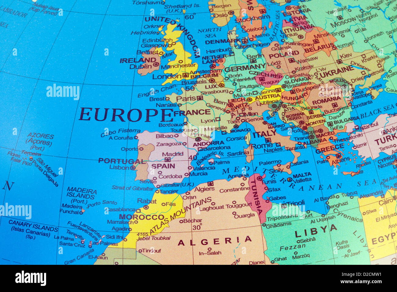 a map of europe and north africa on a globe stock photo royalty  - a map of europe and north africa on a globe