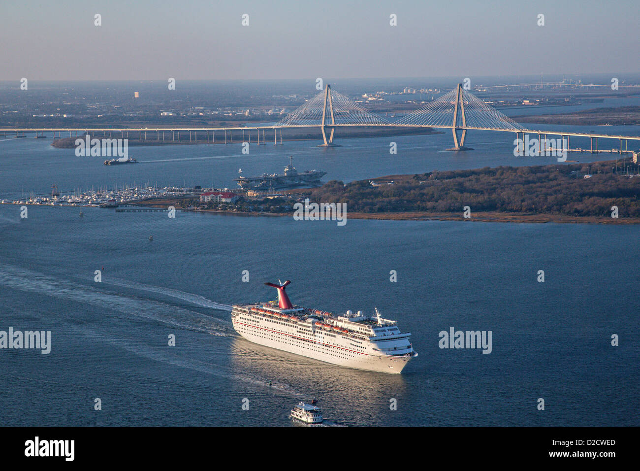 Aerial Showing Carnival Cruise Lines Ship Departing Charleston - Cruise out of charleston sc