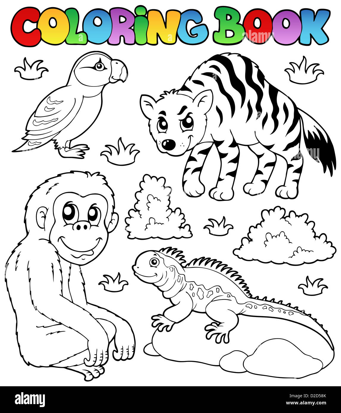 Coloring book zoo animals set 2 - picture illustration Stock Photo ...