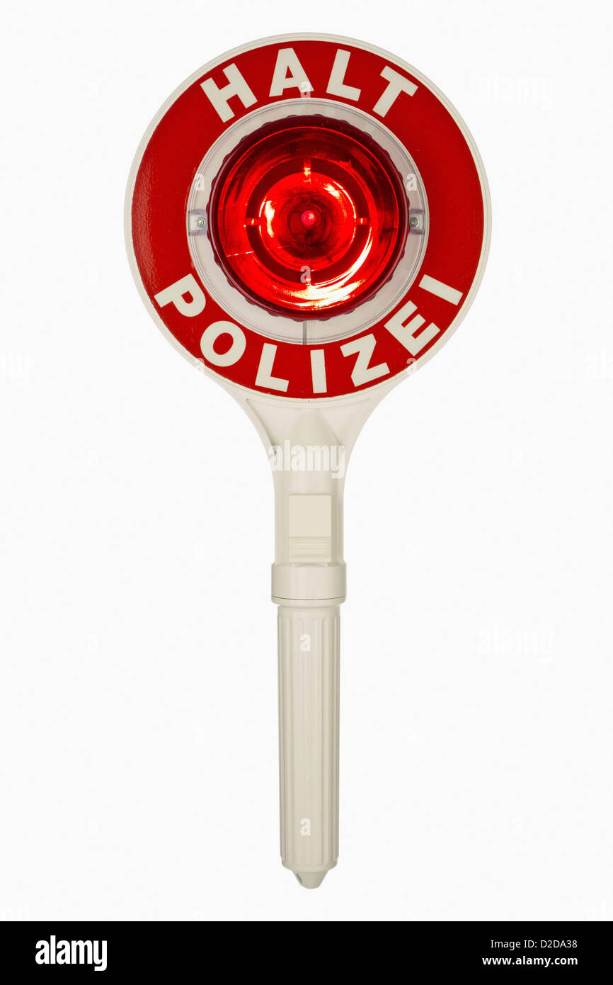 a handheld police traffic control sign with halt polizei
