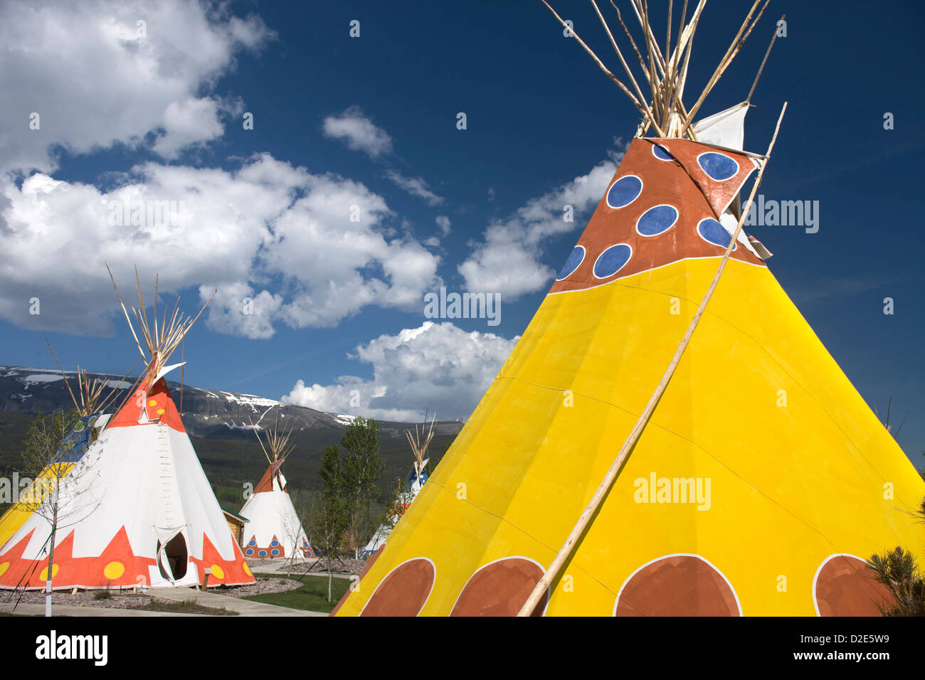 Painted native american teepees saint mary lodge resort for St mary lodge and cabins
