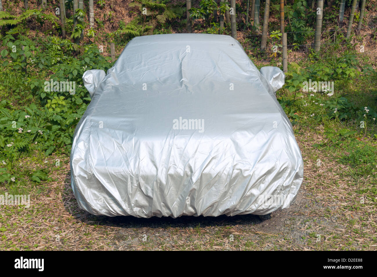 car under protection cover on the natural meadow & car under protection cover on the natural meadow Stock Photo ...