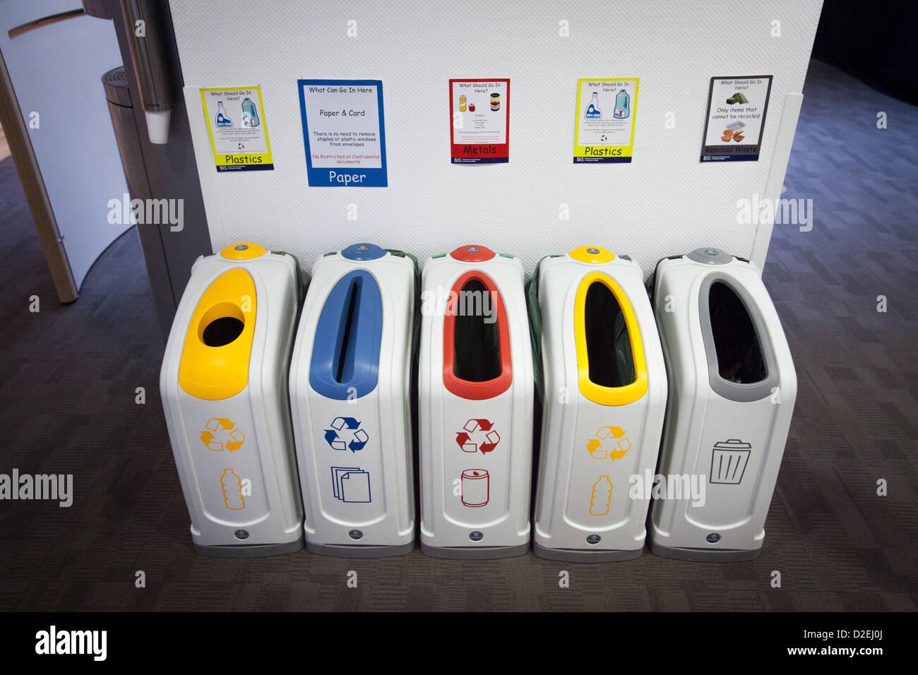 Recycling Bins In An Office In London, UK