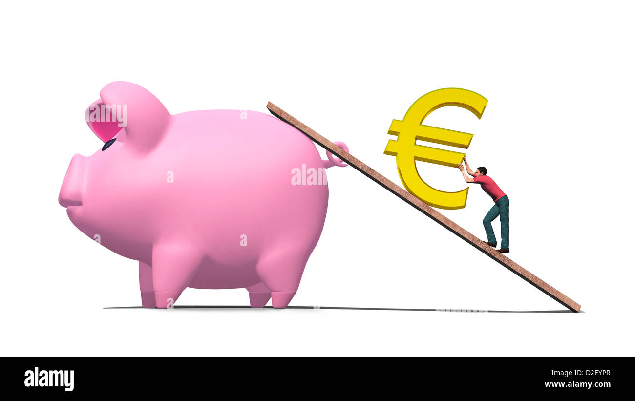 Illustration of man working hard to push a gold euro symbol up a illustration of man working hard to push a gold euro symbol up a ramp into a huge pink piggy bank biocorpaavc Images
