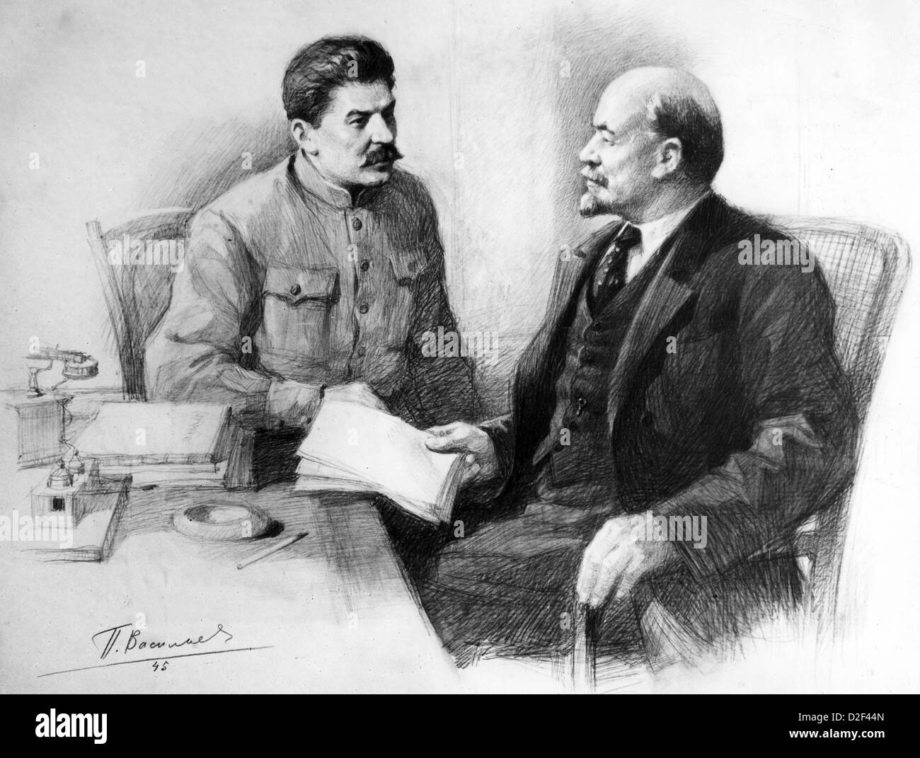 hitler stalin propaganda joseph stalin at right vladimir lenin in a drawing by pietr vassilyev stock alamy