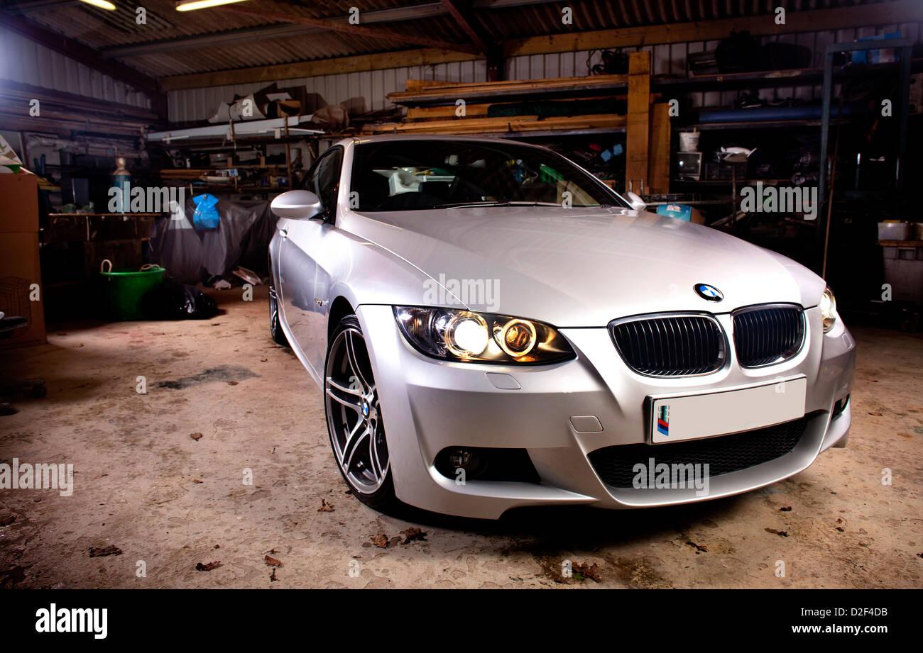 Silver BMW Series Litre Liter Diesel Motor Car In A Garage - Bmw 3 litre diesel