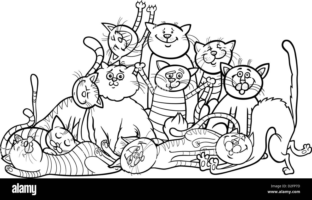 black and white cartoon illustration of happy cats or kittens
