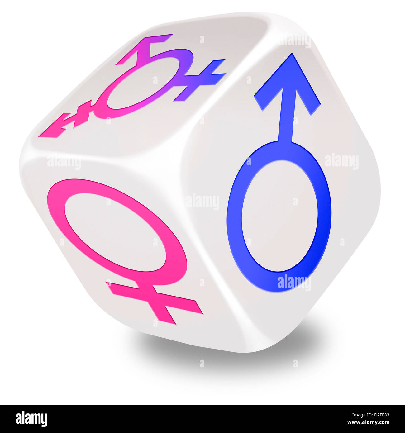 Rolling white dice with the symbols for male female and rolling white dice with the symbols for male female and transgender printed on its sides buycottarizona