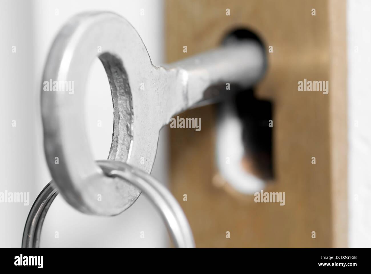 Macro Photo Of Old Style House Key In Door Lock