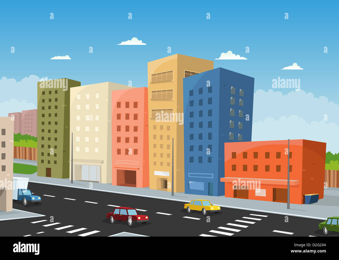 Illustration Of A Cartoon City Downtown, With Office