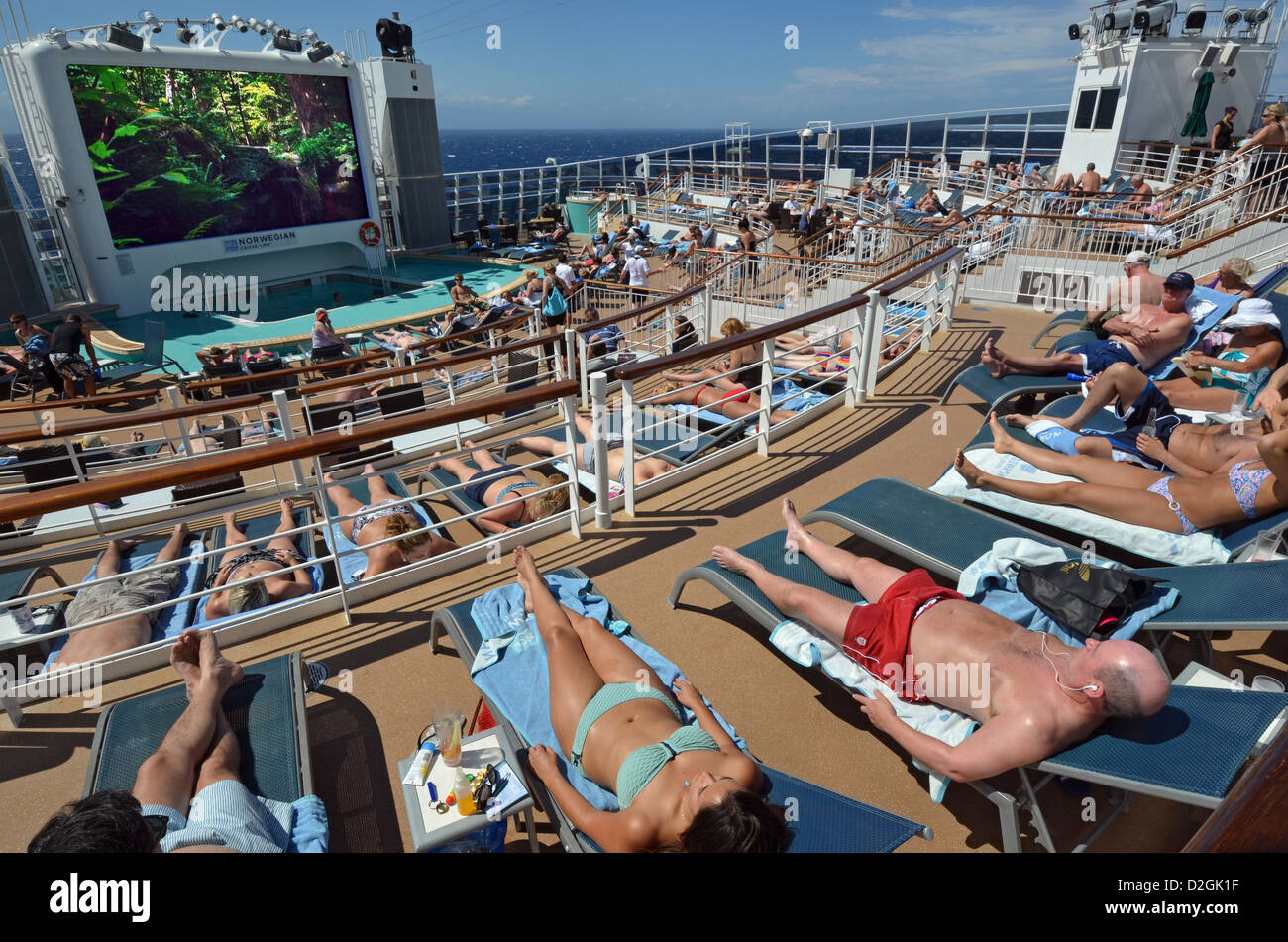 Passengers Sunbathing At Sea On The Aft Deck Of The Cruise Ship - What is aft on a cruise ship