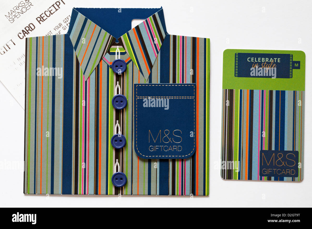 Celebrate in style with ms shirt giftcard with marks spencer celebrate in style with ms shirt giftcard with marks spencer gift card receipt set on white background kristyandbryce Image collections