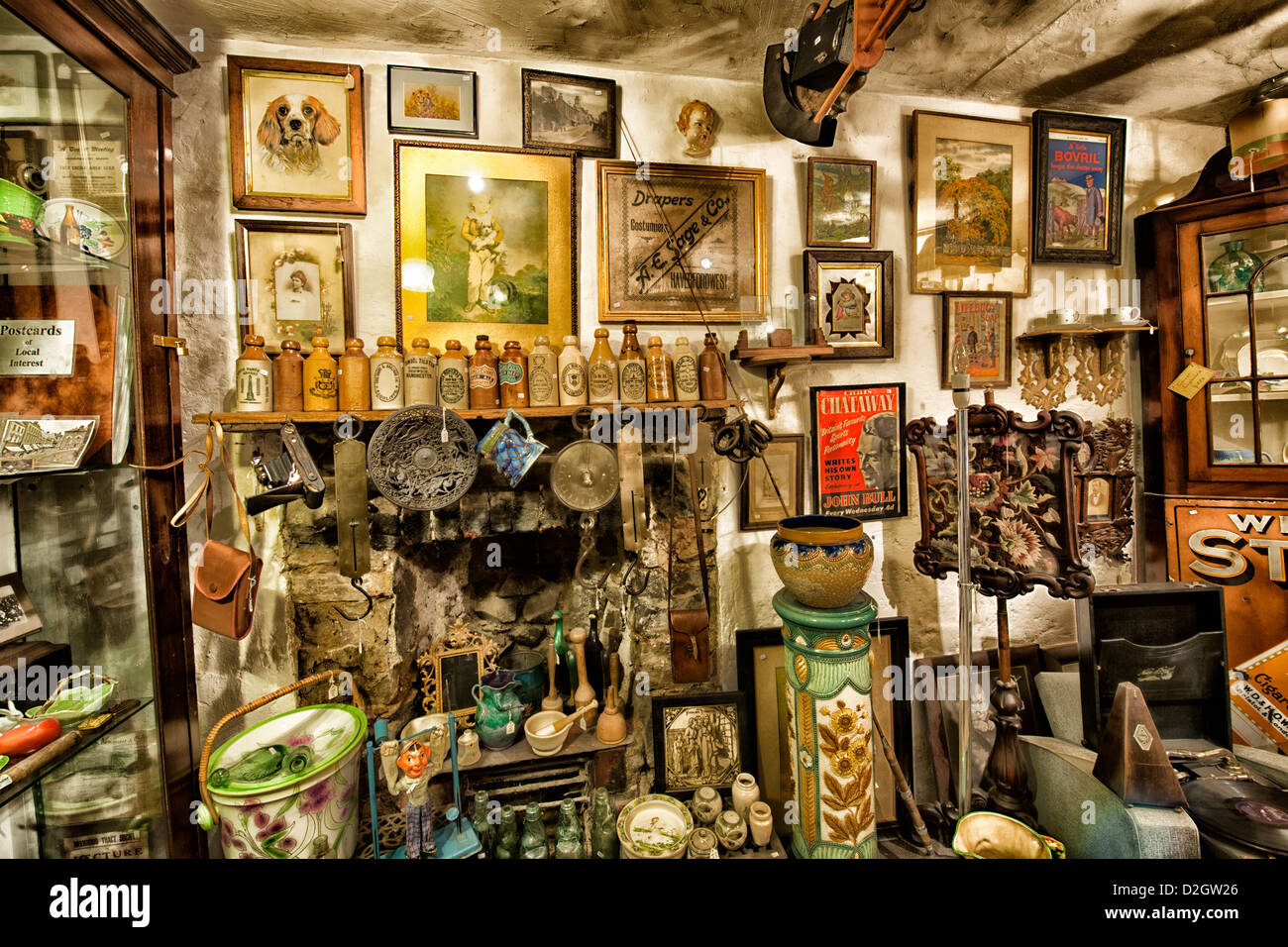Bric a brac antiques collectibles on display for sale in shop west stock photo royalty free - Broc a brac 51 ...