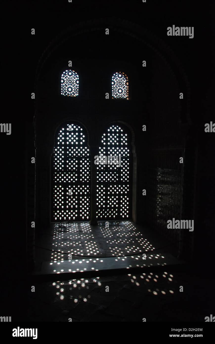 Dark room with light through window - Light Coming Into Dark Room Through A Moorish Window Of The Alhambra In Grenada