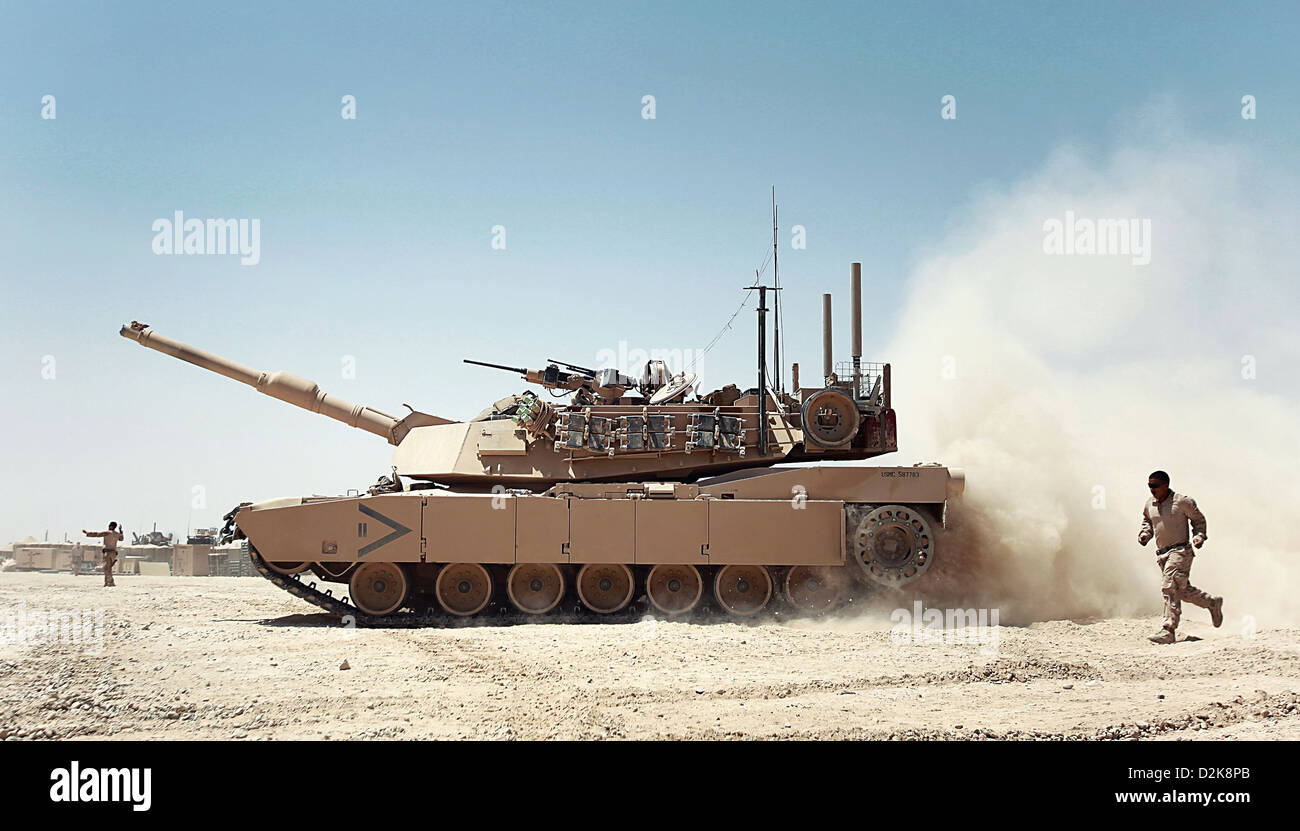 A U.S. Marine Corps M1A1 Abrams Tank with 2nd Tank Platoon, Delta ...