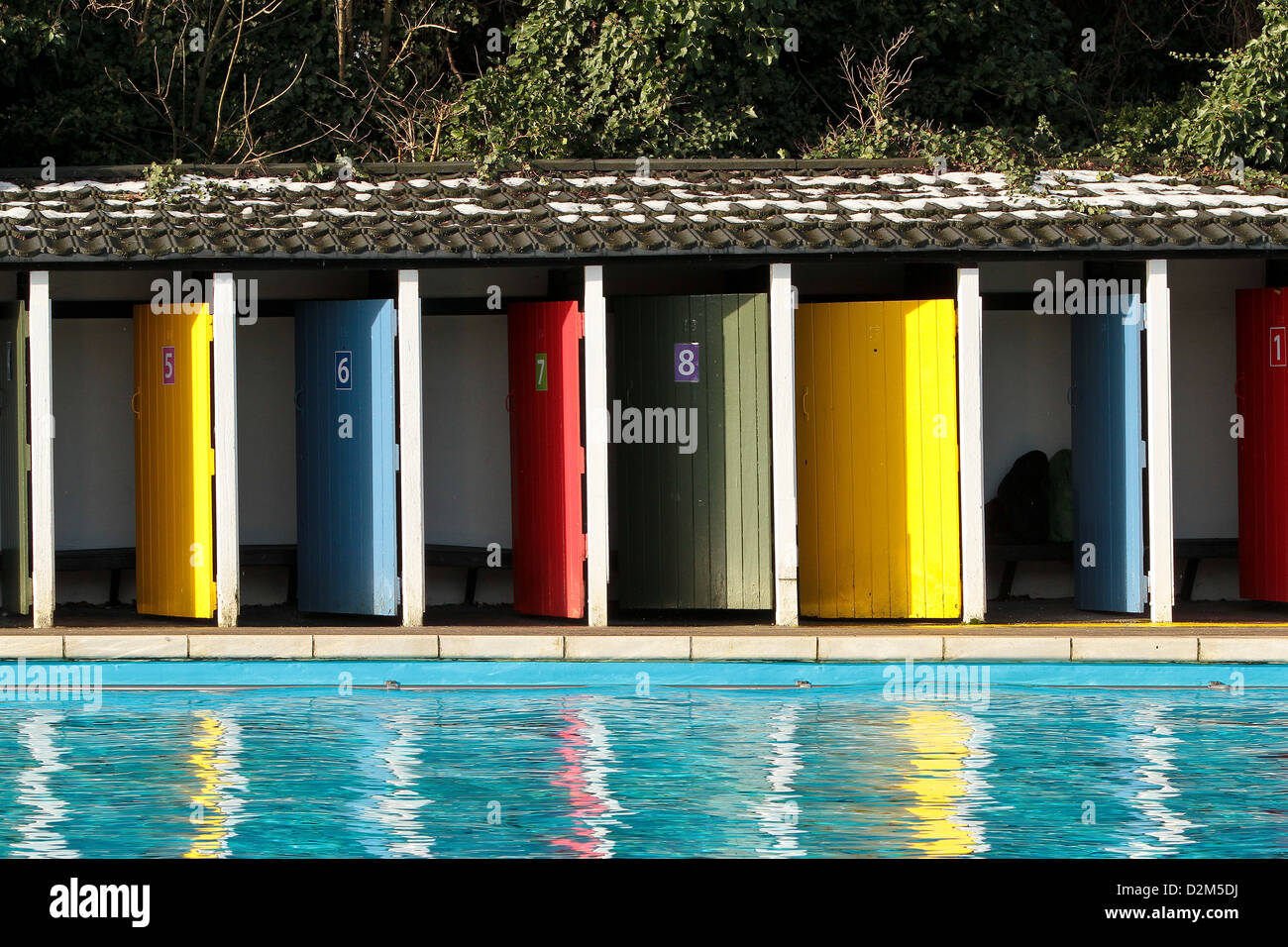 Coloured Doors To Outdoor Changing Rooms At The Open Air Swimming Stock Photo Royalty Free