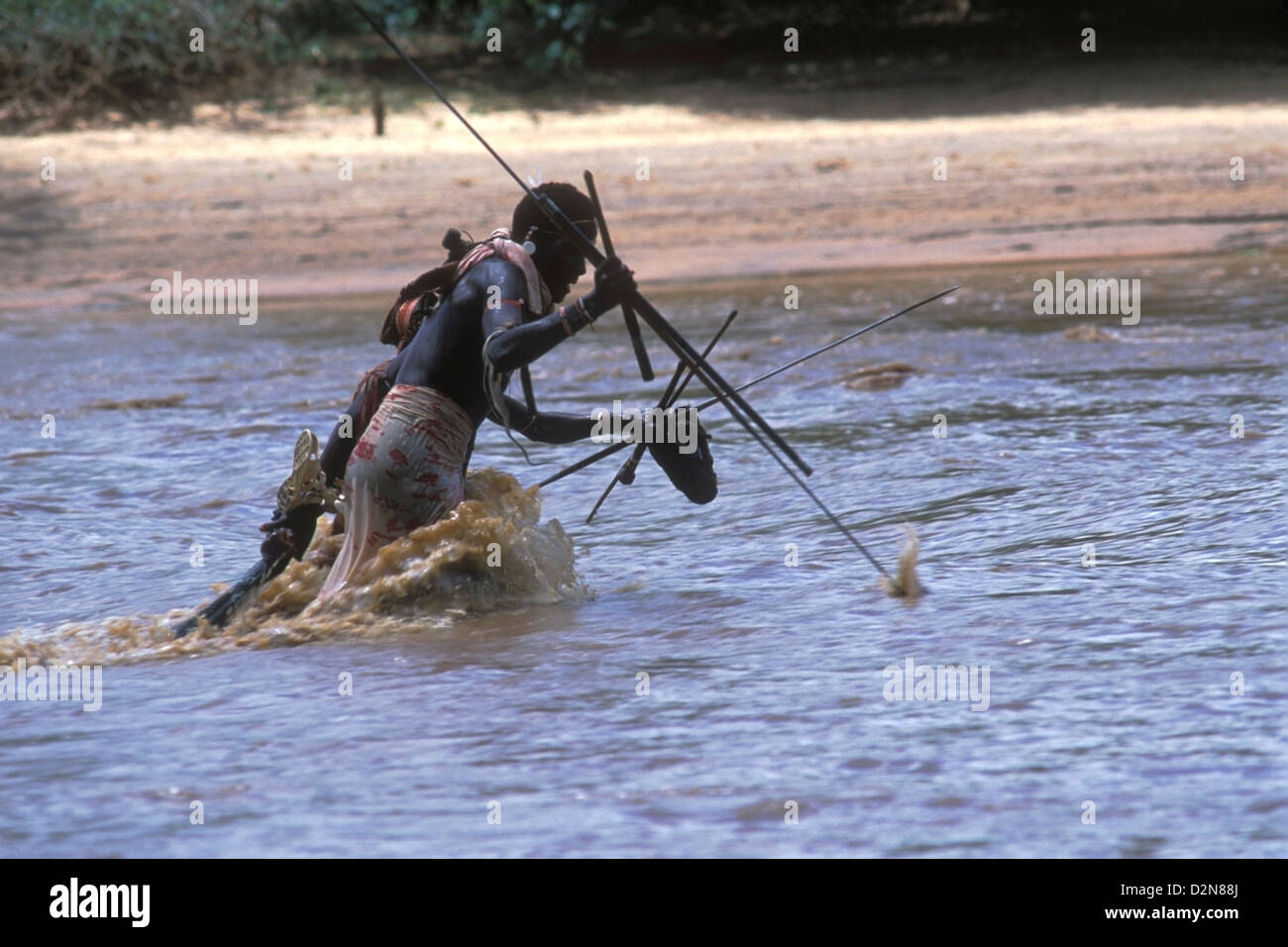 Native Spear Fishing in African River Stock Photo, Royalty ...