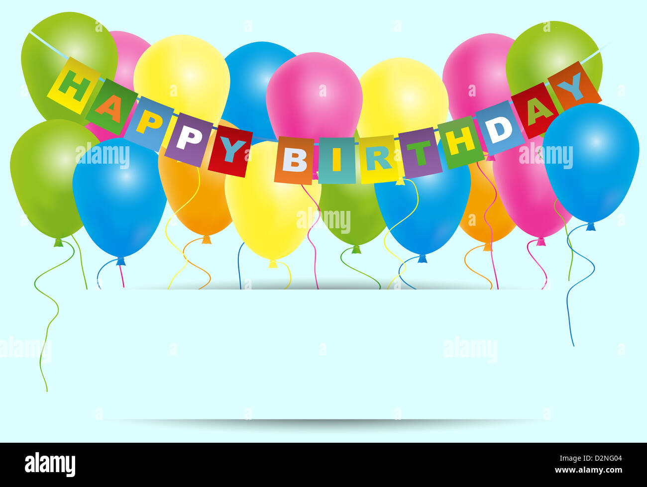 happy birthday card color balloons with with happy birthday sign