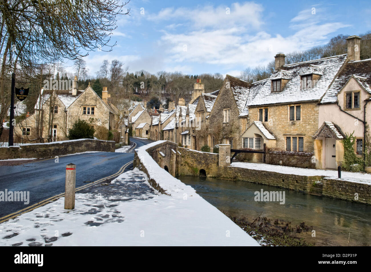 Sunny Winter Snow Scene Of The Picturesque Village Of