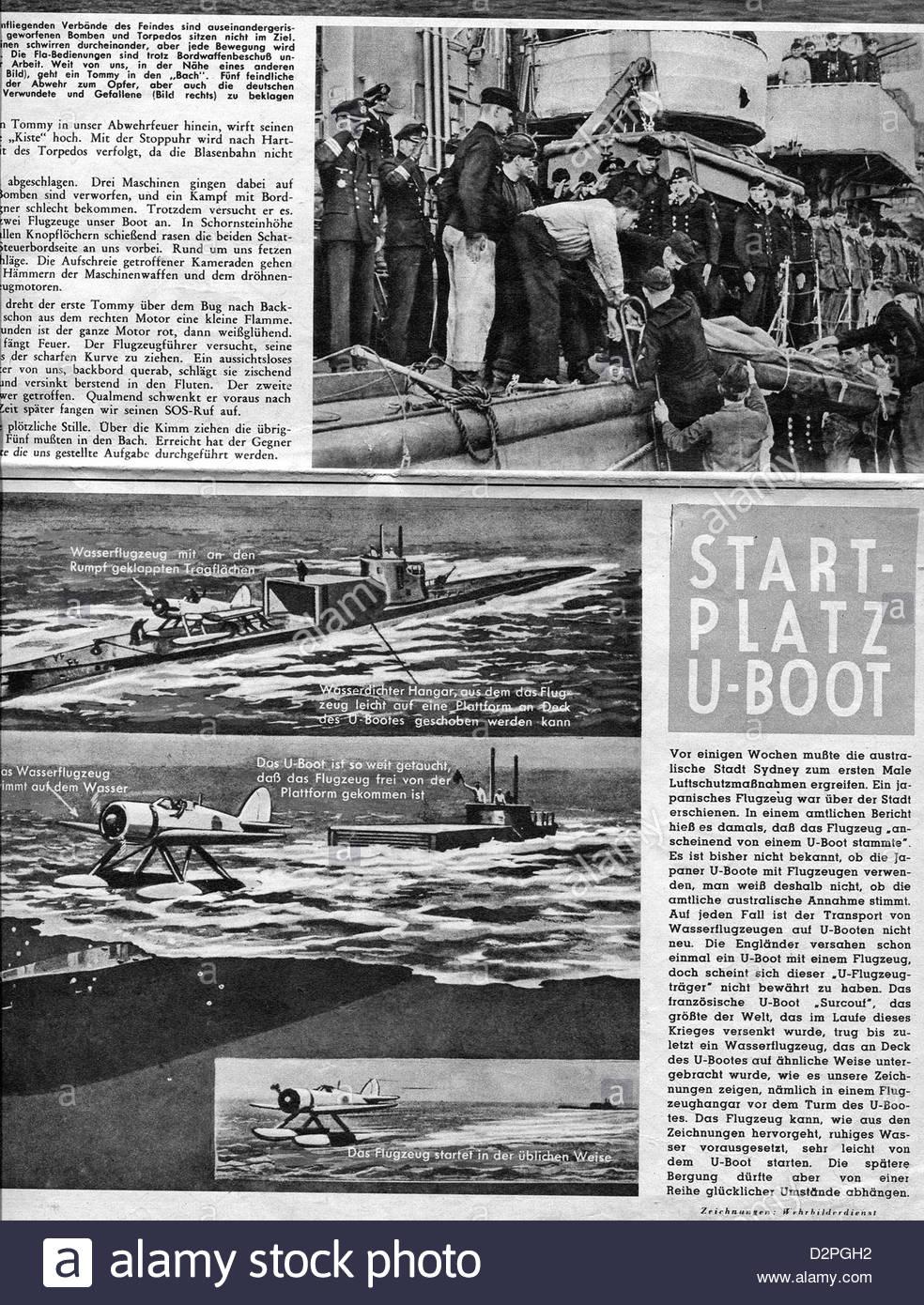 Page From Nazi German Propaganda Newspaper Showing U boats In Page From Nazi German Propaganda Newspaper Showing U Boats In Warfare DPGH Stock Photo Page From Nazi German Propaganda Newspaper Showing U Boats In Warfare