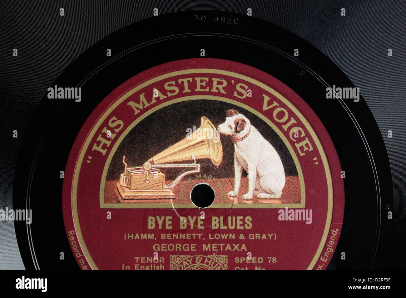A 78 record with 'His Master's Voice' label Stock Photo ...