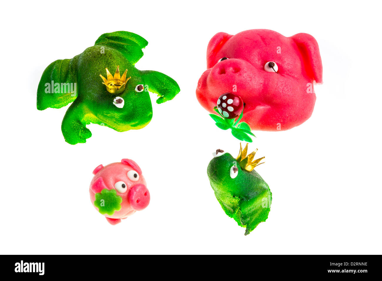 Little marzipan figures pink pork face green frog king lucky little marzipan figures pink pork face green frog king lucky charm symbols biocorpaavc Image collections