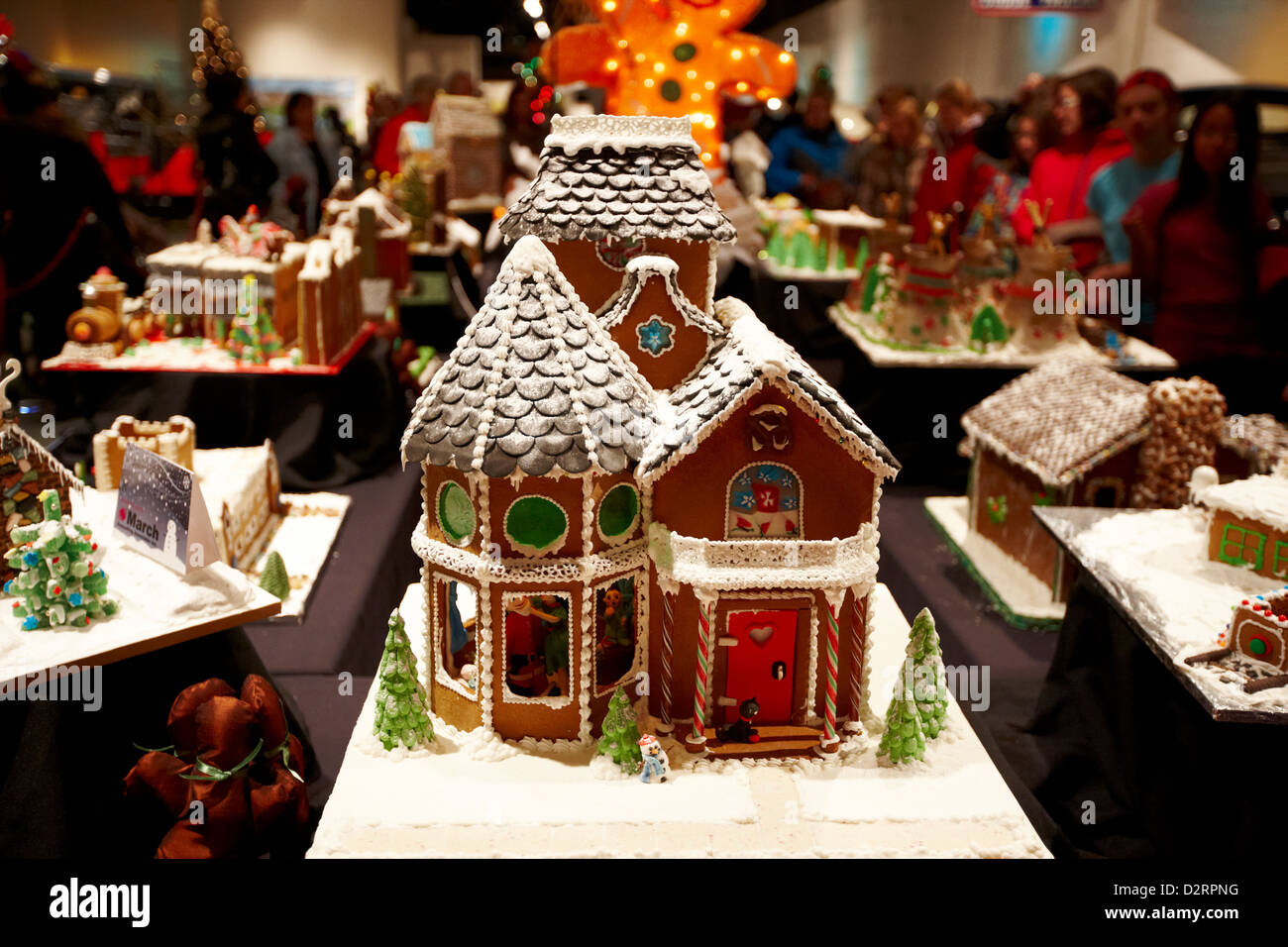 Gingerbread house charity display at the western development museum saskatoon saskatchewan canada stock image