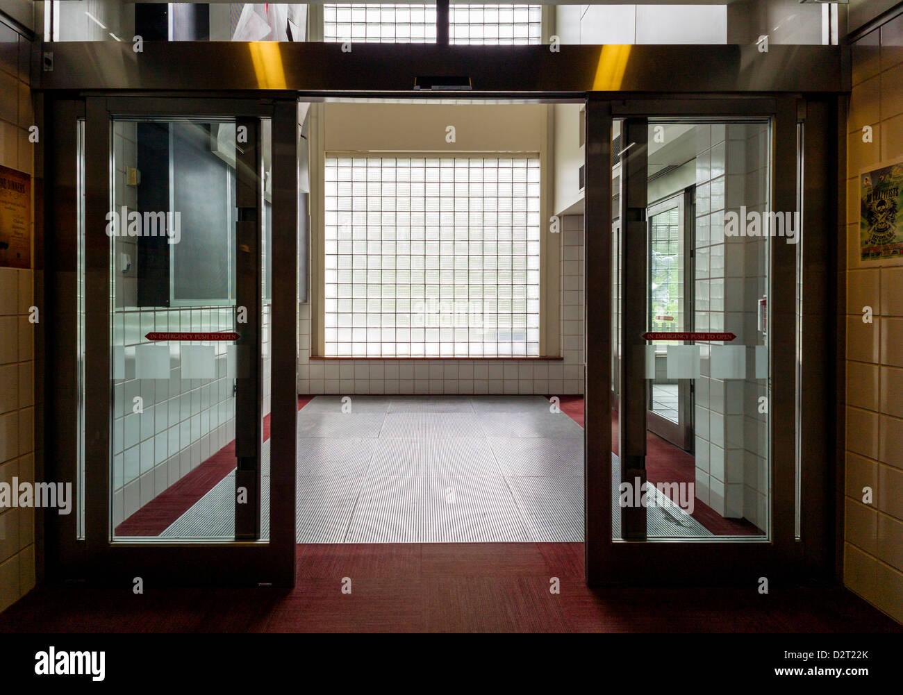 glass door entrance. Glass Door Entrance And Block Wall, Aleyaska Resort \u0026 Ski Area, Aleyaska, Alaska, USA T