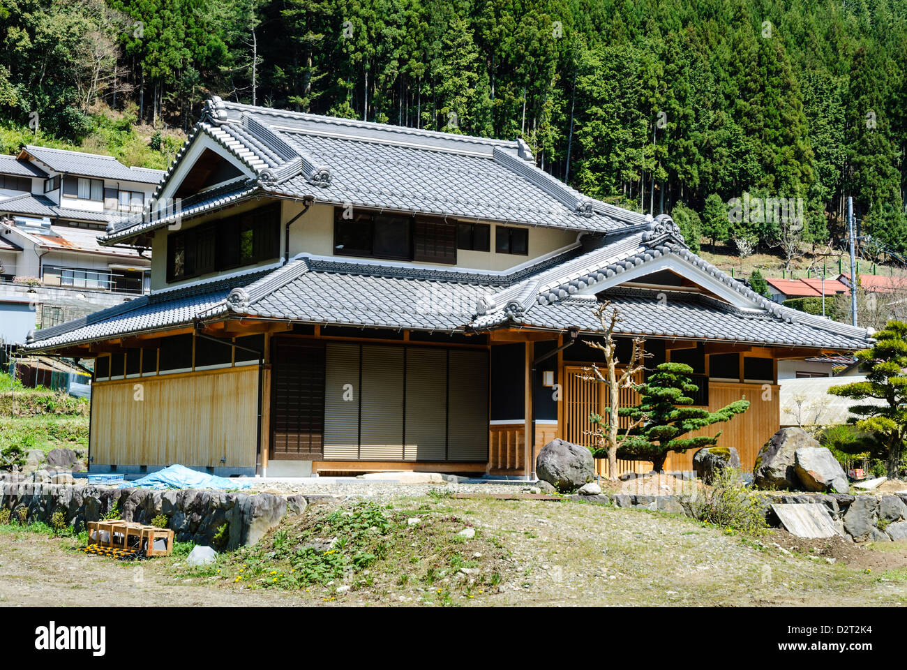 Old wooden japanese house in a village deep in the rural for Classic japanese house