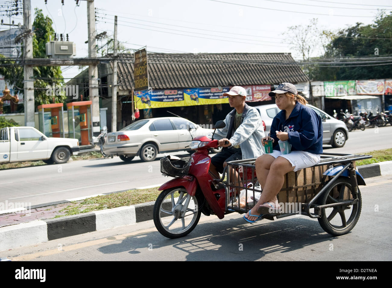 Chiang Mai Thailand Scooter With Sidecar On A Woman Sitting With