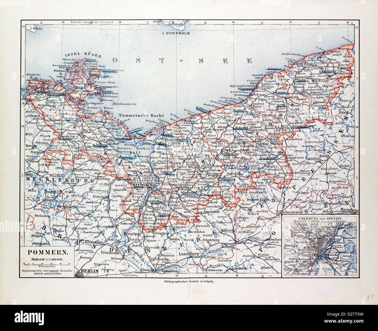 MAP OF POMMERN MECKLENBURGVORPOMMERN GERMANY AND NORTH WEST